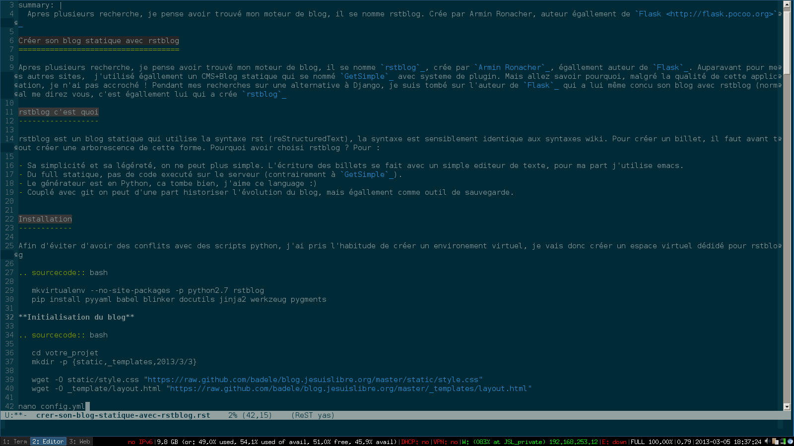 rstmode for emacs